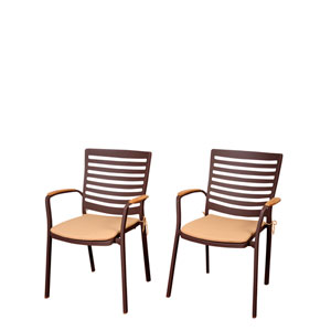 Amazonia Clemente 4 Piece Teak/Cast Aluminum Arm Chair Set with Tan Cushions