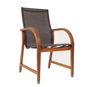 Amazonia Bahamas 4 Piece Eucalyptus Arm Chair Set with Brown Sling Seat
