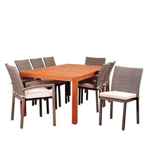 Amazonia Vienna 9 Piece Eucalyptus Rectangular Dining Set with Off-White Cushions