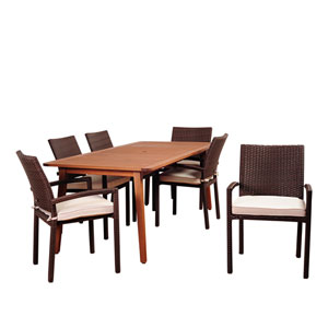 Amazonia Adelson 7 Piece Eucalyptus Rectangular Dining Set with Off-White Cushions