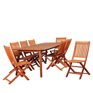 Amazonia Callahan 9 Piece Eucalyptus Rectangular Dining Set with Off-White Cushions