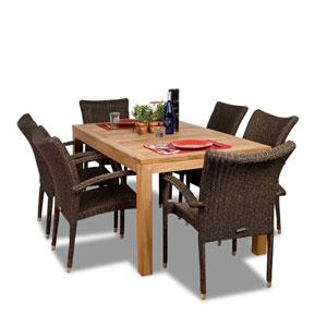 Brussels Seven-Piece Teak/Wicker Dining Set