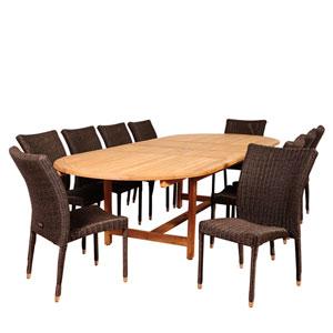 Amazonia District 11 Piece Teak/Wicker Double-Extendable Oval Dining Set