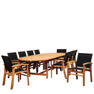 Amazonia Edenton 11 Piece Teak Double-Extendable Oval Dining Set with Black Sling Chair