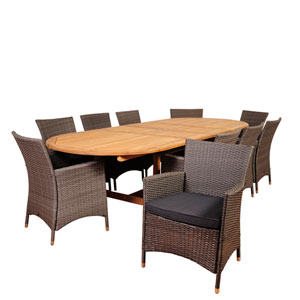 Amazonia Harrison Park 11 Piece Teak/Wicker Double-Extendable Oval Dining Set with Grey Cushions