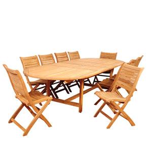 Amazonia Savona 11 Piece Teak Double-Extendable Oval Dining Set