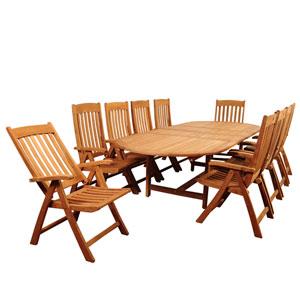 Amazonia Griffin 11 Piece Teak Double-Extendable Oval Dining Set