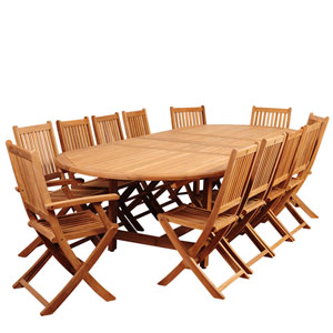 Amazonia Highland Park 13 Piece Teak Double-Extendable Oval Dining Set