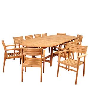 Amazonia Mondavi 13 Piece Teak Double-Extendable Oval Dining Set