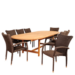 Amazonia Ocean Grove 9 Piece Teak/Wicker Double-Extendable Oval Dining Set