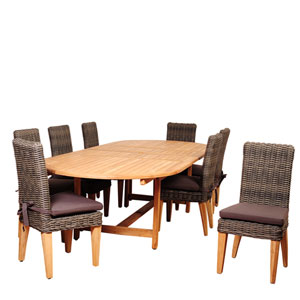 Amazonia Singapore 9 Piece Teak/Wicker Double-Extendable Oval Dining Set