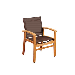 Amazonia Fortuna Teak Dining Armchair with Brown Textile Sling