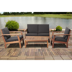 Amazonia Murano 4 Piece Eucalyptus Patio Conversation Set with Black Cushions