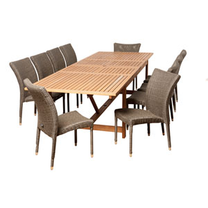 Amazonia Weston 11 Piece Eucalyptus/Wicker Extendable Rectangular Patio Dining Set