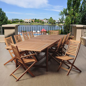 Amazonia Brandon 11 Piece Eucalyptus Extendable Rectangular Patio Dining Set