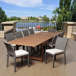Amazonia Angelo 11 Piece Eucalyptus/Wicker Extendable Rectangular Patio Dining Set with Off-White Cushions