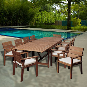 Amazonia Gerald 11 Piece Eucalyptus Extendable Rectangular Patio Dining Set with Off-White and Beige Striped Cushions