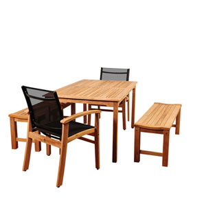 Amazonia Walnut 5 Piece Teak Rectangular Dining Set