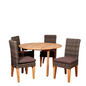 Amazonia Del Mar 5 Piece Teak/Wicker Round Dining Set