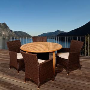 Amazonia Teak Benjamin 5 Piece Teak/Wicker Round Patio Dining Set with Off-White Cushions
