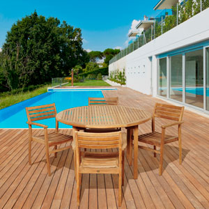 Amazonia Teak Alex 5 Piece Teak Round Patio Dining Set