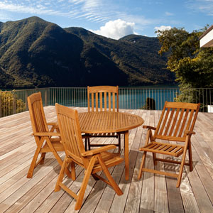 Amazonia Teak Allen 5 Piece Teak Round Patio Dining Set