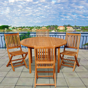 Amazonia Teak Adam 5 Piece Teak Round Patio Dining Set