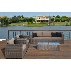 Atlantic Mustang 5 Piece Distressed Grey Wicker Patio Conversation Set with Brown Cushions