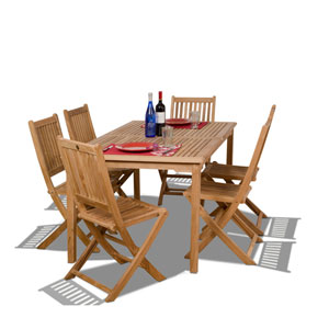 Prague Seven-Piece Teak Dining Set