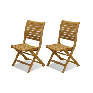 Dublin Teak Folding Chairs, Set of Two