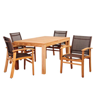 Amazonia Devlin 5 Piece Teak Rectangular Dining Set with Brown Sling Chair