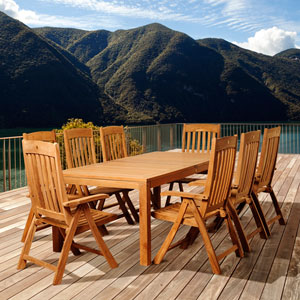 Amazonia Teak Chase 9 Piece Teak Rectangular Patio Dining Set