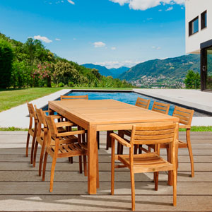 Amazonia Teak Boyd 9 Piece Teak Rectangular Patio Dining Set
