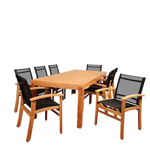 Amazonia Terrace 9 Piece Teak Rectangular Dining Set with Black Sling Chair