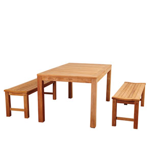 Amazonia Rinjani 3 Piece Teak Rectangular Dining Set