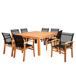 Amazonia Sunset View 9 Piece Teak Square Dining Set with Black Sling Chair