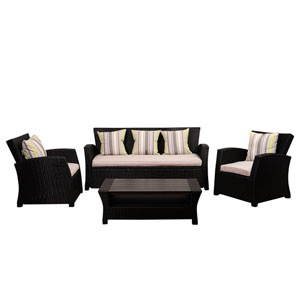 Atlantic Staffordshire 4 Piece Black Wicker Seating Set with Light Grey Cushions