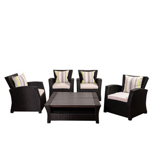 Atlantic Staffordshire 6 Piece Black Wicker Seating Set with Light Grey Cushions