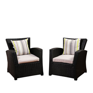 Atlantic Staffordshire 2 Piece Black Wicker Arm Chair Set with Light Grey Cushions