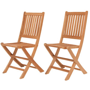 London Amazonia Teak Folding Chairs, Set of Two