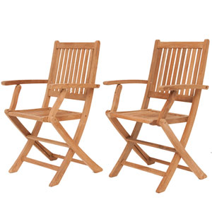London Teak Folding Armchairs, Set of Two