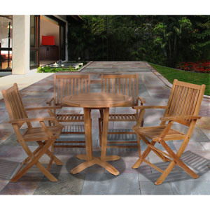 Amazonia Kansas 5 Piece Teak Round Patio Bistro Set