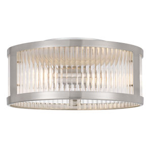 Toluca Brushed Nickel Three-Light Clear Ribbed Glass Flush Mount