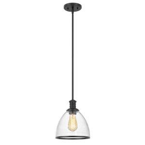 Cloe Black One-Light Harmer Glass Mini Pendant