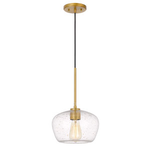 Hive Antique Brass One-Light Gold Flakes Glass Pendant