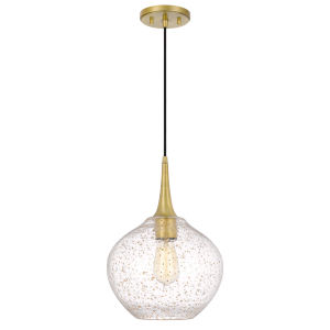 Hive Antique Brass One-Light 11-inch Gold Flakes Glass Pendant