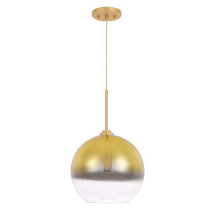 Phantasm II Gold One-Light 12-Inch Champagne Graduated Color Glass Pendant