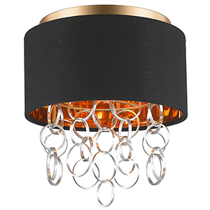 Catena Matte Gold Three-Light Flush Mount