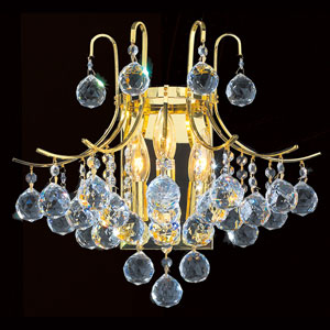 Empire Three-Light Gold Finish with Clear-Crystals Wall Sconce