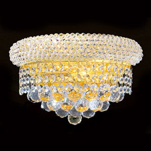 Empire Two-Light Clear-Crystals Gold Finish Wall Sconce